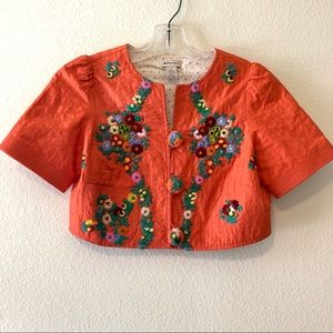 Anthro Elevenses Silk Embroidered Bolero Jacket
